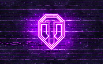 World of Tanks violet logo, WoT, 4k, violet brickwall, World of Tanks logo, brands, World of Tanks neon logo, World of Tanks, WoT logo
