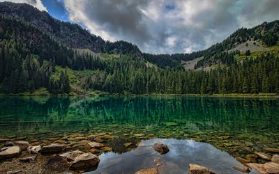 mountain lake, mountain landscape, Alps, emerald lake, green lake, forest, mountains, take care of nature, Save the earth