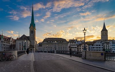Zurich, Fraumunster, church, evening, sunset, chapel, bridge, Switzerland