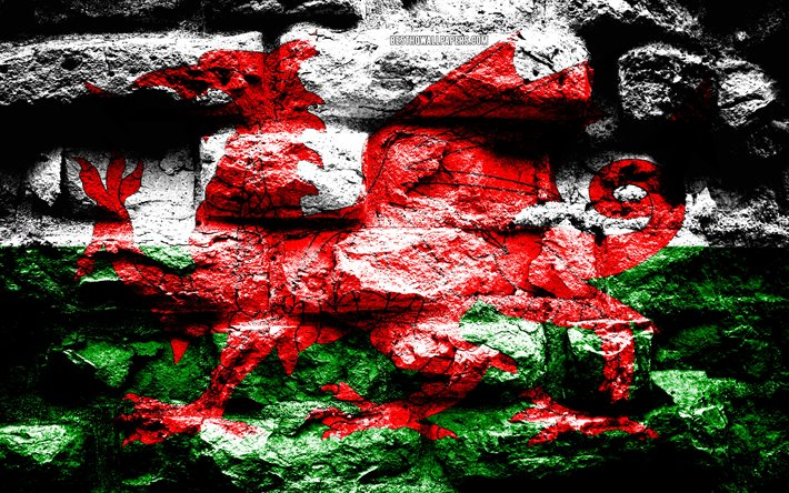 Wales flag, grunge brick texture, Flag of Wales, flag on brick wall, Wales, Europe, flags of european countries