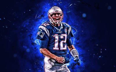 Tom Brady, NFL, New England Patriots, amerikkalainen jalkapallo, pelinrakentaja, Thomas Edward Patrick Brady Jr, National Football League, neon valot, Tom Brady New England Patriots