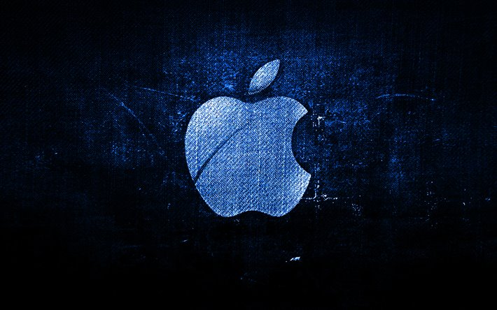 Apple blu scuro logo, blu scuro sfondo in tessuto, Apple, creative, Apple denim logo, grunge, arte, logo Apple