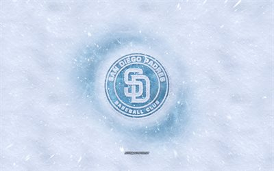 San Diego Padres logo, American baseball club, winter concepts, MLB, San Diego Padres ice logo, snow texture, San Diego, California, USA, snow background, San Diego Padres, baseball