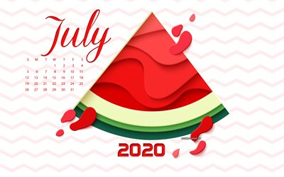 2020 July Calendar, summer 2020 calendar, watermelon, summer art, July 2020 Calendar, summer background, July