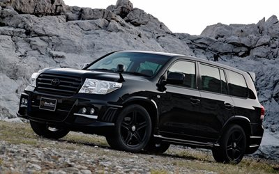 Toyota Land Cruiser 200, Black Bison Edition, exterior, black SUV, tuning Land Cruiser 200, japanese cars, black Land Cruiser 200, Toyota
