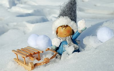 snowman, winter, snow, winter elf, winter decoration