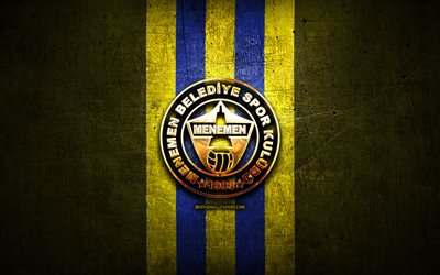 Menemenspor FC, golden logo, 1 Lig, yellow metal background, football, Menemenspor, turkish football club, Menemenspor logo, soccer, Turkey, Menemen Belediyespor