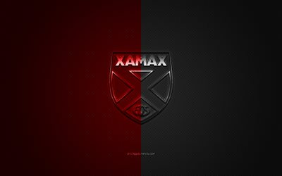 Xamax FCS, Swiss football club, Swiss Super League, red-black logo, red-black carbon fiber background, football, Neuchatel, Switzerland, Xamax FCS logo, Neuchatel Xamax FCS