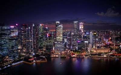 Singapore, 4k, night, skyscrapers, modern buildings, Singapore cityscape, Asia