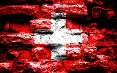 Switzerland flag, grunge brick texture, Flag of Switzerland, flag on brick wall, Switzerland, Europe, flags of european countries