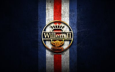 Willem II FC, golden logo, Eredivisie, blue metal background, football, Willem II, Dutch football club, Willem II logo, soccer, Netherlands