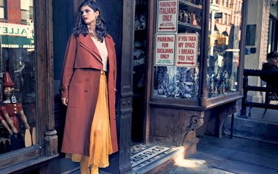 Alexandra Daddario, portrait, american actress, photoshoot, red coat, american fashion model