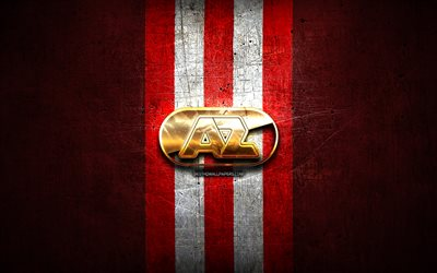 AZ Alkmaar, golden logo, Eredivisie, red metal background, football, AZ Alkmaar FC, Dutch football club, AZ Alkmaar logo, soccer, Netherlands