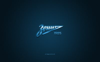 FC Zenit, Russian football club, Russian Premier League, blue logo, blue carbon fiber background, football, Saint Petersburg, Russia, FC Zenit logo