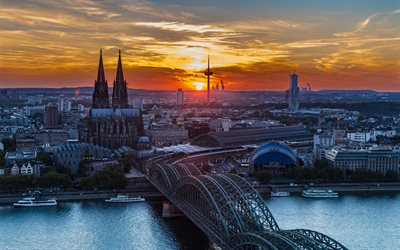 Hohenzollern Bridge, 4k, Cologne Cathedral, Germany, sunset, Europe, Cologne at evening, german cities, Cologne