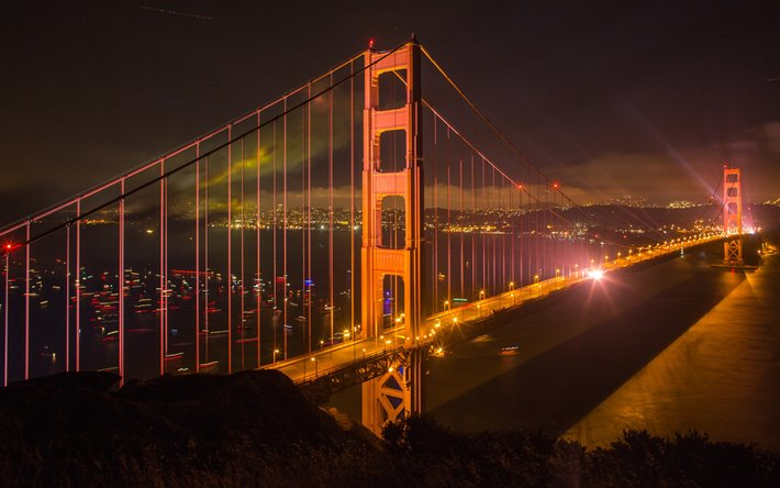 San Francisco, Golden Gate Bridge, suspension bridge, Golden Gate Strait, cityscape, California, USA