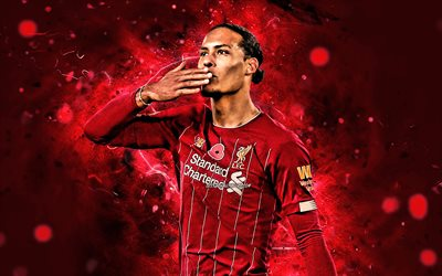 Virgil van Dijk, 2020, dutch footballers, Liverpool FC, goal, neon lights, Virgil van Dijk Liverpool, Premier League, defender, soccer, LFC, football, Liverpool