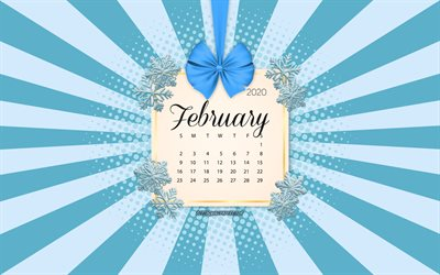 2020 February Calendar, blue background, winter 2020 calendars, February, 2020 calendars, snowflakes, retro style, February 2020 Calendar, calendar with snowflakes