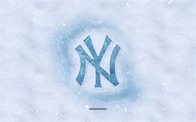 Logo Yankees de New York, l'American club de baseball d'hiver, concepts, MLB New York Yankees logo de la glace, de la neige texture, New York, Californie, etats-unis, la neige fond, Yankees de New York, le baseball