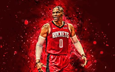Russell Westbrook, 4k, Houston Rockets, 2020, NBA, red neon lights, basketball stars, Russell Westbrook III, basketball, USA, Russell Westbrook Houston Rockets, creative, Russell Westbrook 4K