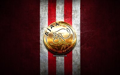 Ajax FC, golden logo, Eredivisie, red metal background, football, AFC Ajax, Dutch football club, Ajax logo, soccer, Netherlands
