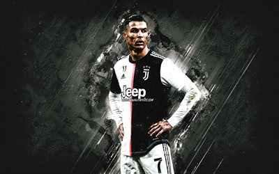 Cristiano Ronaldo, portrait, Juventus FC, CR7, new uniform 2020, gray stone background, world football star, Serie A, Italy, football