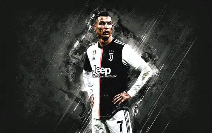 download wallpapers cristiano ronaldo portrait juventus fc cr7 new uniform 2020 gray stone background world football star serie a italy football for desktop free pictures for desktop free download wallpapers cristiano ronaldo