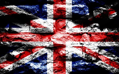 United Kingdom flag, grunge brick texture, Great Britain flag, Flag of United Kingdom, flag on brick wall, United Kingdom, Europe, UK flag, flags of european countries