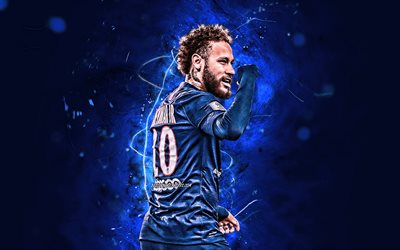 Neymar, 2020, brazilian footballers, PSG, back view, Ligue 1, blue neon lights, Neymar da Silva Santos Junior, soccer, football, Paris Saint-Germain, Neymar JR