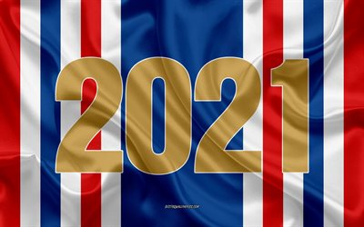 2021 New Year, France 2021, silk texture, Happy New Year France, 4k, 2021 concepts