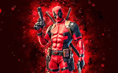 Deadpool, 4k, néons rouges, Fortnite Battle Royale, Caractères Fortnite, Deadpool Skin, Fortnite, Deadpool Fortnite