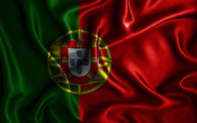 Portuguese flag, 4k, silk wavy flags, European countries, national symbols, Flag of Portugal, fabric flags, Portugal flag, 3D art, Portugal, Europe, Portugal 3D flag