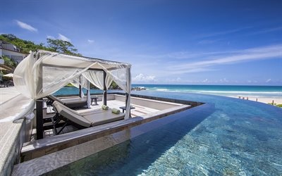Phuket, ocean, tropical islands, summer, swimming pool on the beach, luxury hotels, Thailand