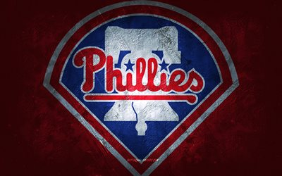 Philadelphia Phillies, American baseball team, red stone background, Philadelphia Phillies logo, grunge art, MLB, baseball, USA, Philadelphia Phillies emblem