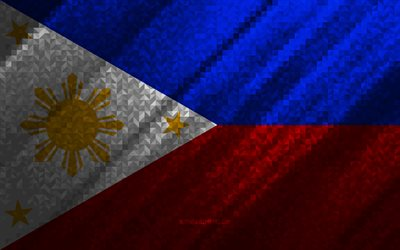 Flag of Philippines, multicolored abstraction, Philippines mosaic flag, Philippines, mosaic art, Philippines flag