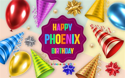 Happy Birthday Phoenix, 4k, Birthday Balloon Background, Phoenix, creative art, Happy Phoenix birthday, silk bows, Phoenix Birthday, Birthday Party Background