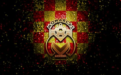 Monarcas FC, glitter logo, Liga MX, red yellow checkered background, soccer, mexican football club, Monarcas Morelia logo, mosaic art, football, CA Monarcas Morelia