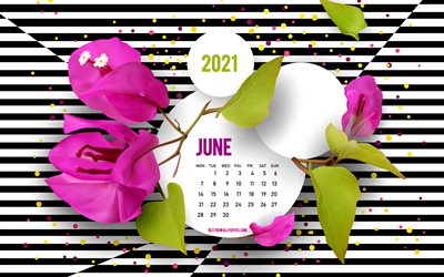 2021 June Calendar, background with flowers, creative art, June, 2021 summer calendars, black and white striped background, June 2021 Calendar, purple flowers
