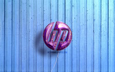 4k, Hewlett-Packard logo, violet realistic balloons, HP 3D logo, HP, Hewlett-Packard, blue wooden backgrounds, HP logo