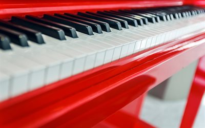 piano à queue rouge, touches de piano, jeu de piano, fond de piano, instruments de musique, piano