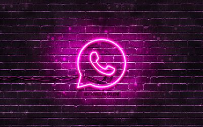 WhatsApp purple logo, 4k, purple brickwall, WhatsApp logo, social networks, WhatsApp neon logo, WhatsApp