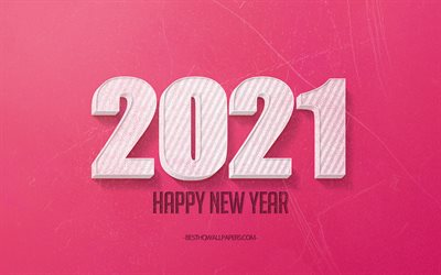 2021 New Year, 2021 pink background, 2021 concepts, 2021 white 3d letters, 2021 pink retro background