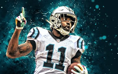 Natrell Jamerson, 4k, safety, Carolina Panthers, american football, NFL, National Football League, blue neon lights, Natrell Jamerson Carolina Panthers, Natrell Jamerson 4K
