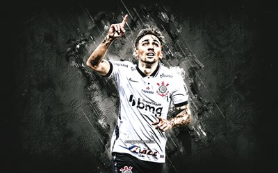 Gustavo Silva, Corinthians, brazilian football player, portrait, gray stone background, football, SC Corinthians Paulista