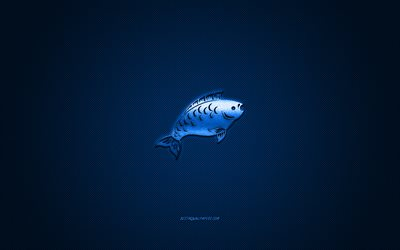 Pisces zodiac sign, metallic signs of the zodiac, Pisces, blue carbon background, Pisces Horoscope sign, Pisces zodiac symbol
