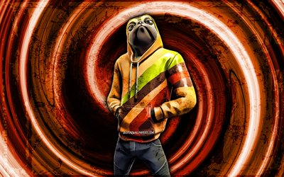4k, Doggo, orange grunge background, Fortnite, vortex, Fortnite characters, Doggo Skin, Fortnite Battle Royale, Doggo Fortnite