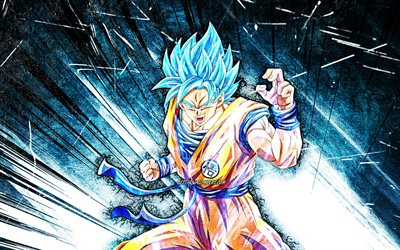 Son Goku, grunge art, Dragon Ball, 4K, warrior, Dragon Ball Super, DBS, blue abstract rays, Son Goku DBS, DBS characters, Son Goku Dragon Ball