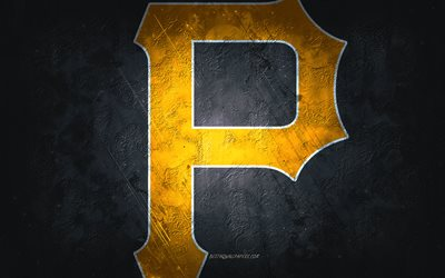 Pittsburgh Pirates, American baseball team, black stone background, Pittsburgh Pirates logo, grunge art, MLB, baseball, USA, Pittsburgh Pirates emblem, Pittsburgh Pirates new logo