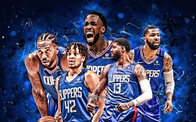 Paul George, Patrick Beverley, Marcus Morris, Kawhi Leonard, Amir Coffey, 4k, Los Angeles Clippers, basketball, NBA, Los Angeles Clippers team, blue neon lights, basketball stars, LA Clippers