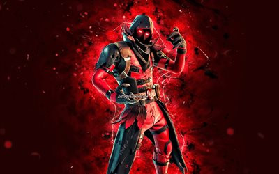 Ravenpool, 4k, red neon lights, Fortnite Battle Royale, Fortnite characters, Ravenpool Skin, Fortnite, Ravenpool Fortnite